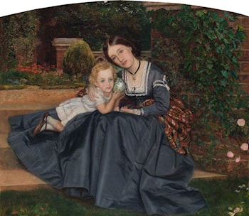 Mother and Child Seated in a Garden by Arthur Hughes