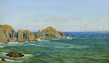 A Rocky Coast: Merope Rocks, near Harlyn Bay, North Cornwall by Arthur Hughes