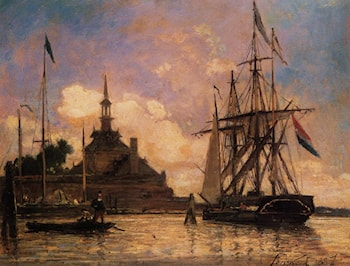 The Port of Rotterdam by Johan Barthold Jongkind