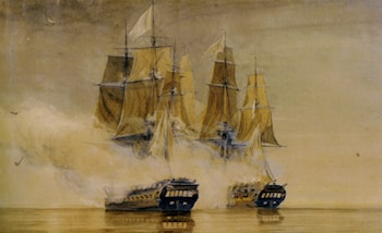 Action between HMS Amethyst and the French frigate Thetis by Thomas Whitcombe