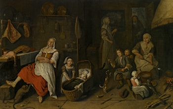 A Kitchen Interior with a Woman Cooking at the Hearth Children Playing and a Woman Resting by the Butchers Table by Pieter Gerritsz. van Roestraeten