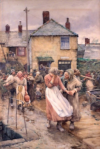 Among the Missing – Scene in a Cornish Fishing Village by Walter Langley